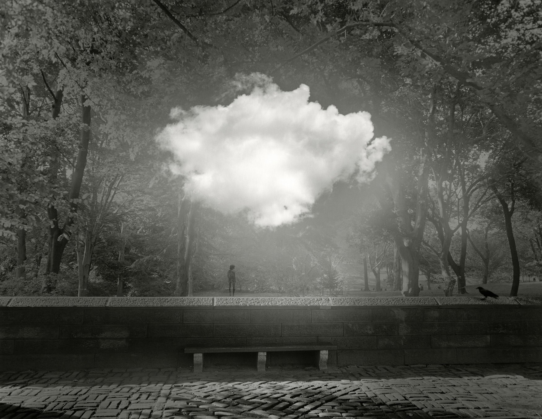Jerry Uelsmann Untitled Nude and Cloud Central Park Bench Catherine Couturier Gallery